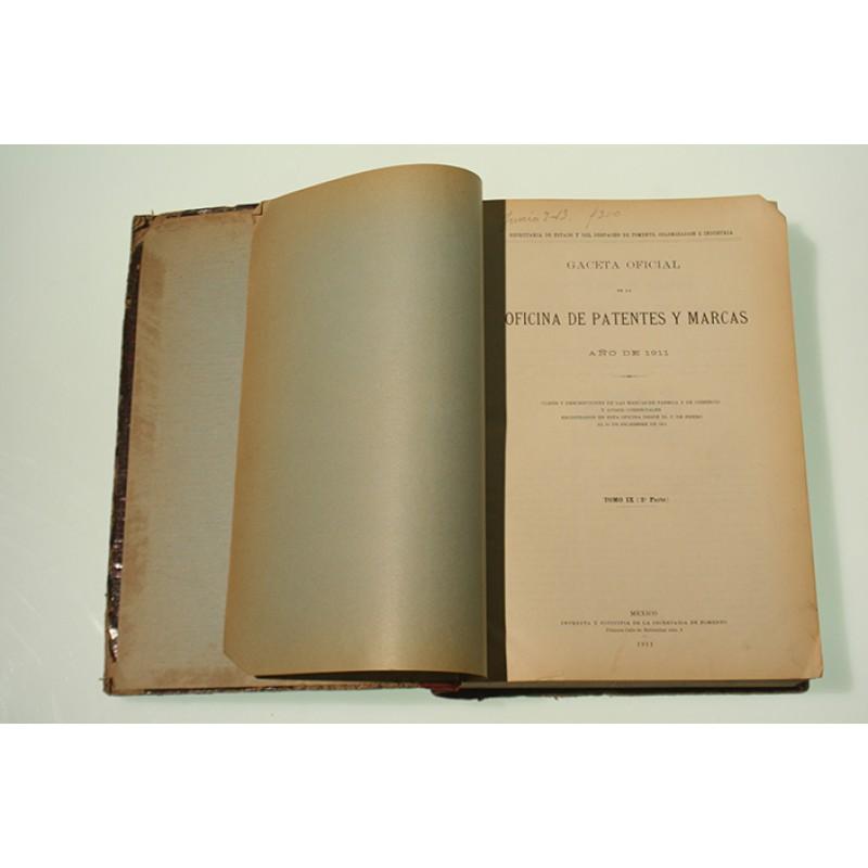 Gaceta oficial de la oficina de patentes y marcas a o de 1911 for Oficina de patentes