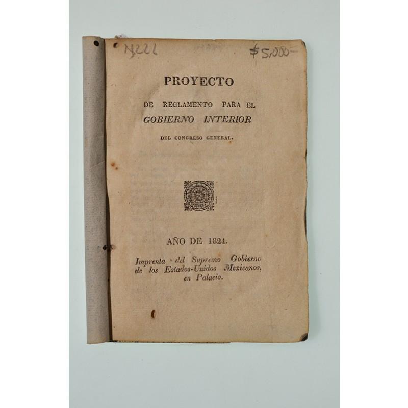 Proyecto de reglamento para el gobierno interior del for Gobierno interior
