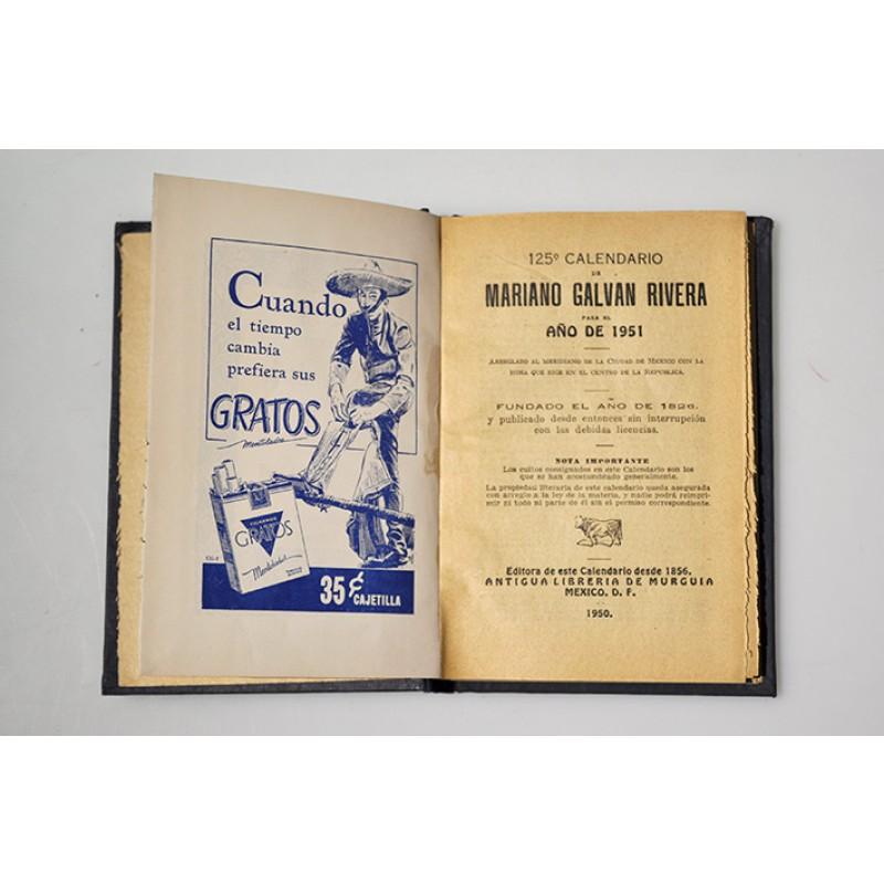 Calendario Mariano.125 Calendario De Mariano Galvan Rivera Para El Ano De 1951
