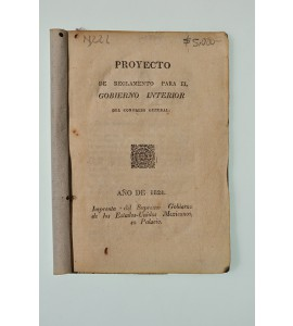 Proyecto de reglamento para el Gobierno Interior del Congreso General