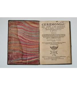 Ceremonial para armar a los cavalleros, I dar el abito, I profession en la Inclita Religion de San Juan de Jerusalen
