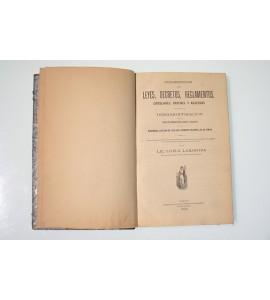 Colección de leyes, decretos, reglamentos, circulares, ordenes y acuerdos relativos a la desamortización de los bienes de corporaciones civiles y religiosas y a la nacionalización de los que administraron las ultimas.